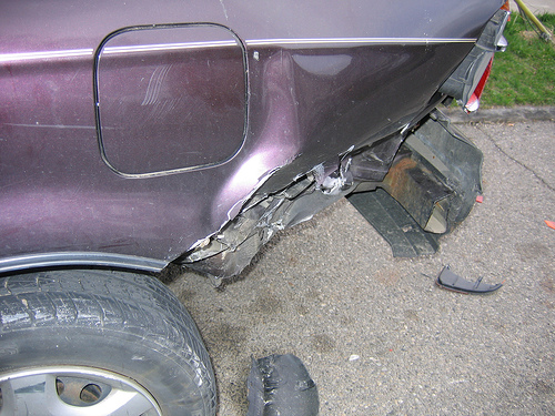 Car accident bumper damage