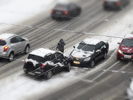 Winter Car Accident Tilt Shift