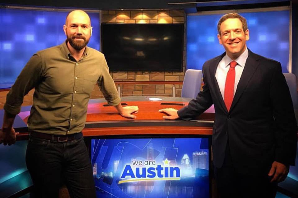 Adam announcing the $25k Match Gift on KVUE's We Are Austin