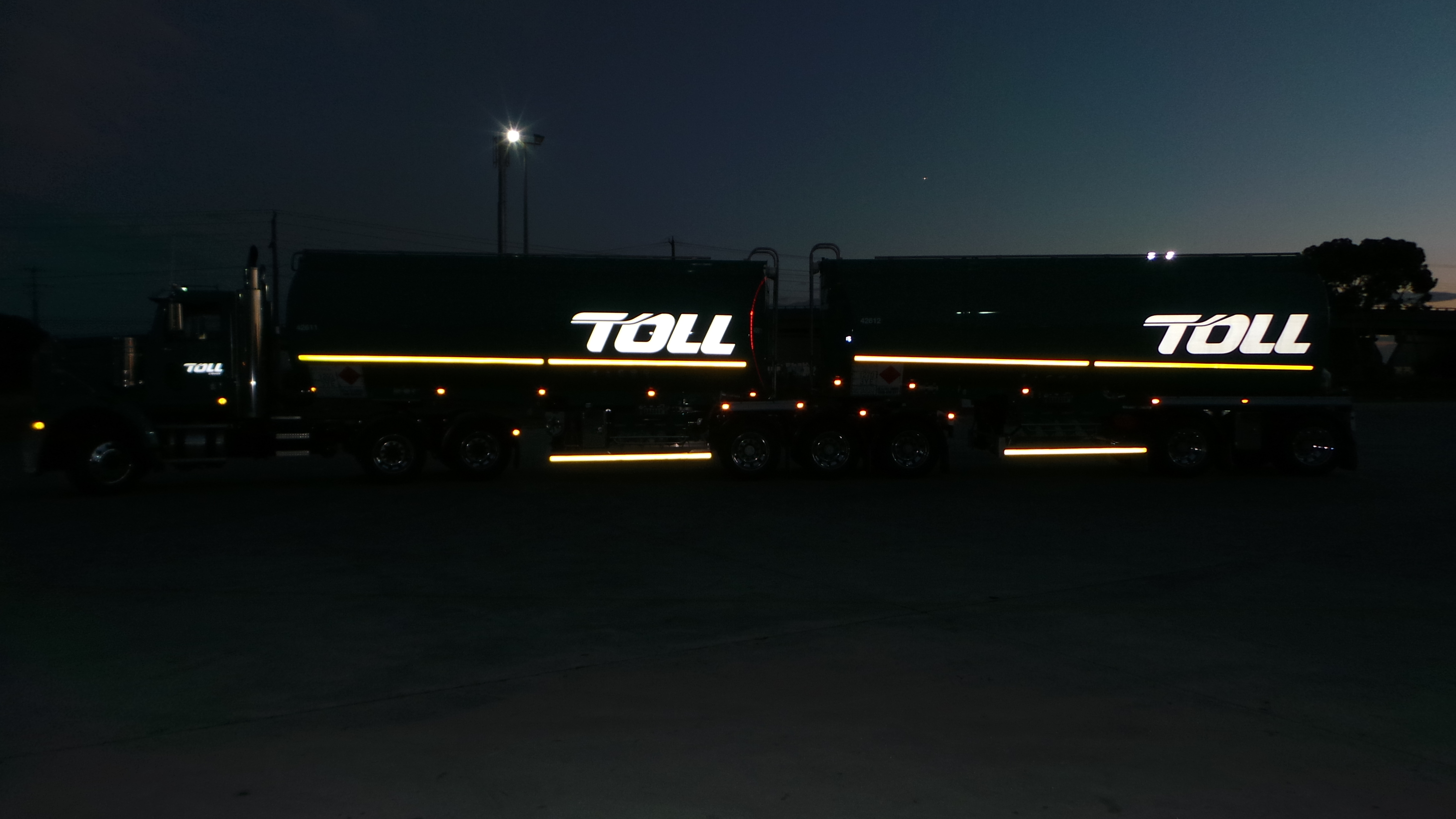 tanker trucks with reflectors